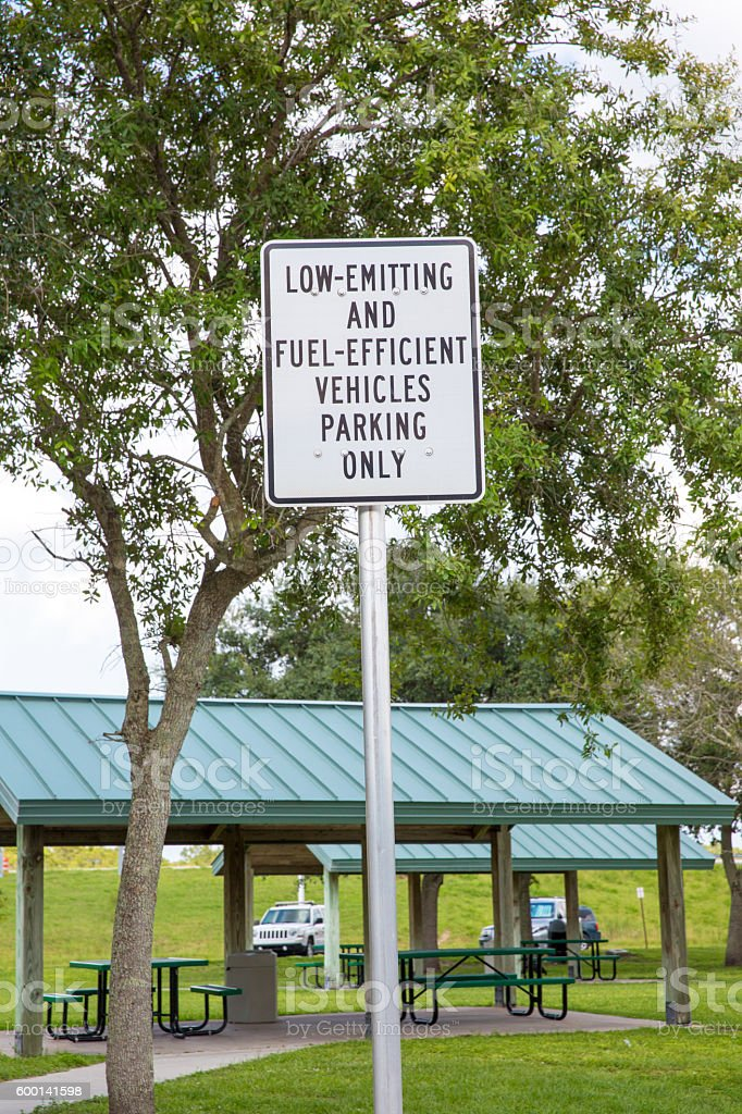 X-Parking sign at park allowing only fuel efficient vehicles stock photo