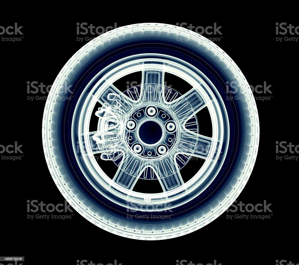 xray car wheel isolated on black stock photo