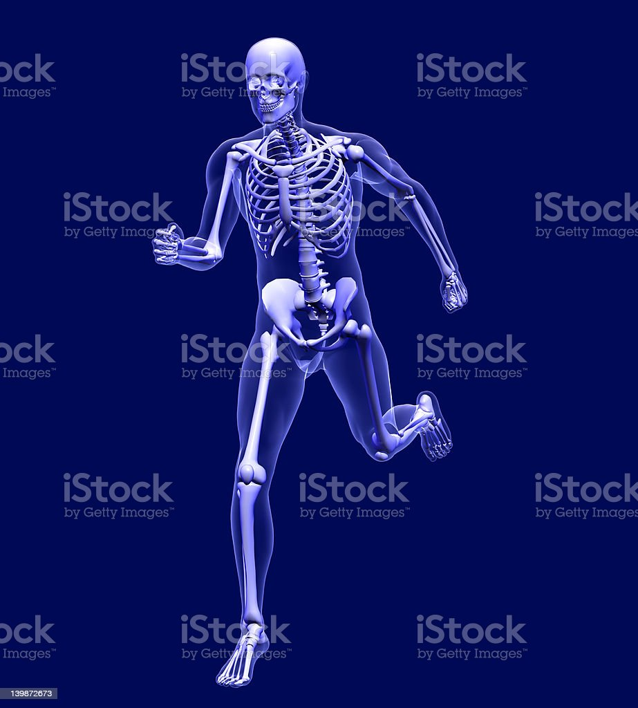 X-ray Man Running 2 - with clipping path royalty-free stock photo
