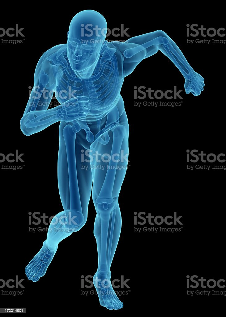 X-ray of human body with skeleton, running royalty-free stock photo