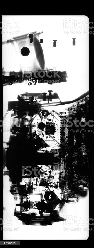 X-Ray of inside a mechanical device stock photo