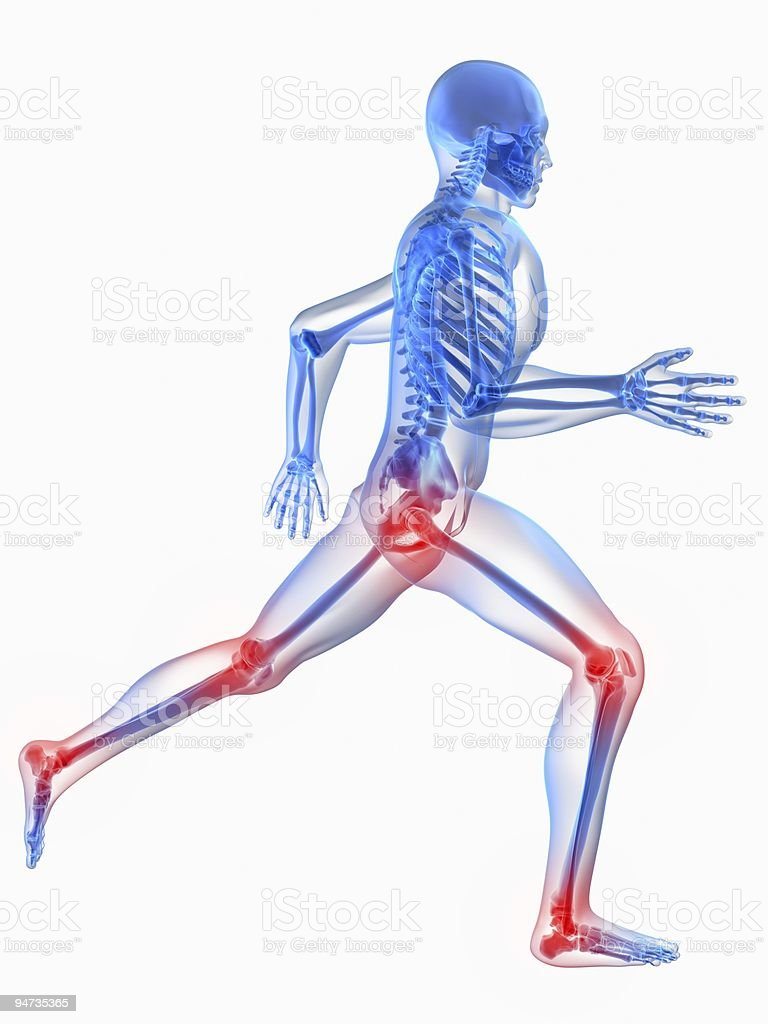 X-Ray picture of the body showing joints in pain stock photo