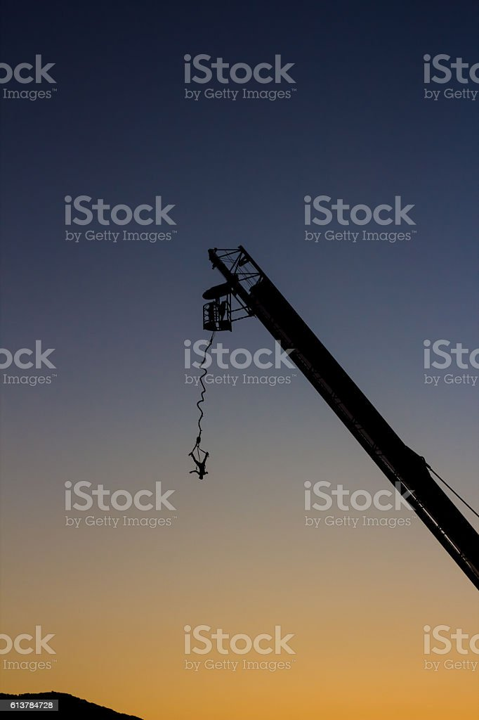 xtreme bungee jumping in sunset royalty-free stock photo
