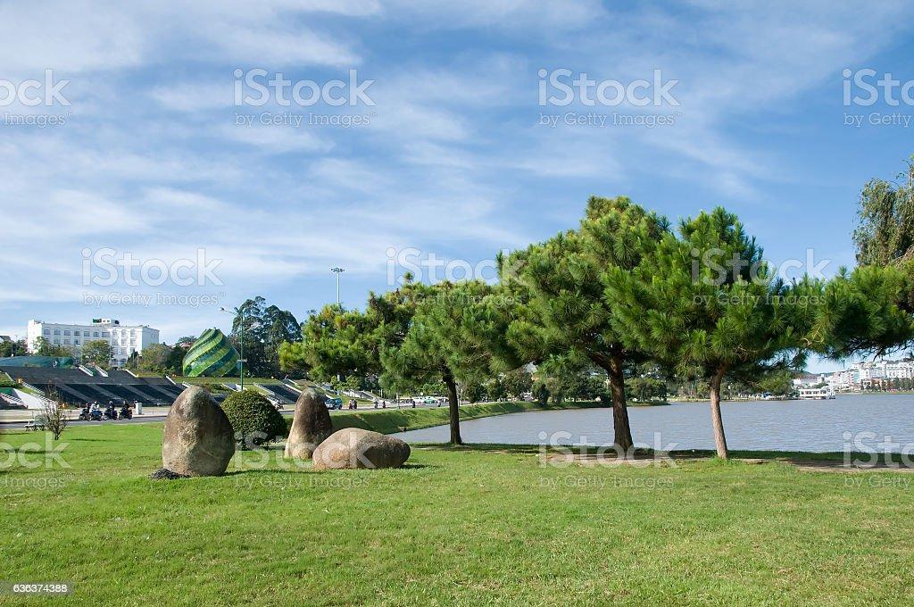 Xuan Huong lake in the morning, Dalat, Vietnam stock photo