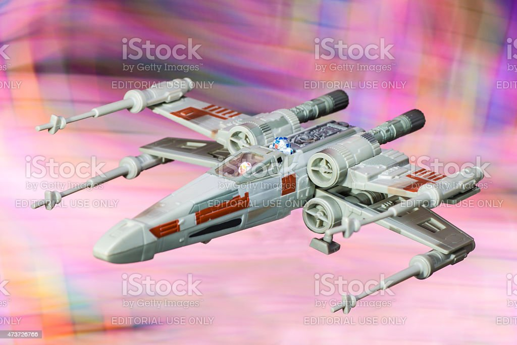 X-wing starfighter spaceship toy from Star Wars saga movie stock photo