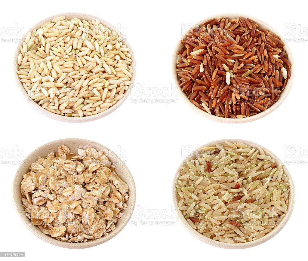 XXL:Assortment of grains: Rice,Oat flake, isolated on white royalty-free stock photo