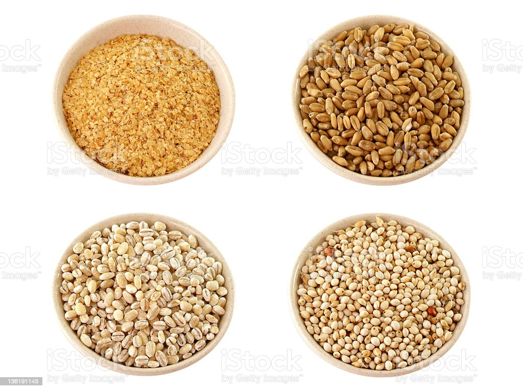 XXL:Assortment of grains: Wheatgerm,Barley,Millet isolated on white stock photo