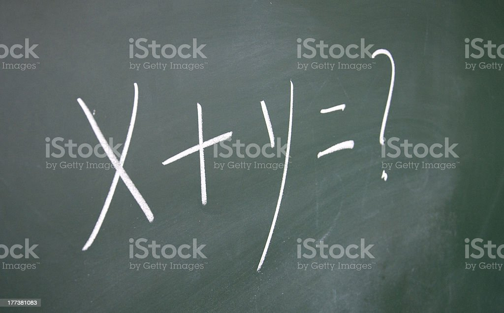 x+y=? drawn with chalk on blackboard royalty-free stock photo