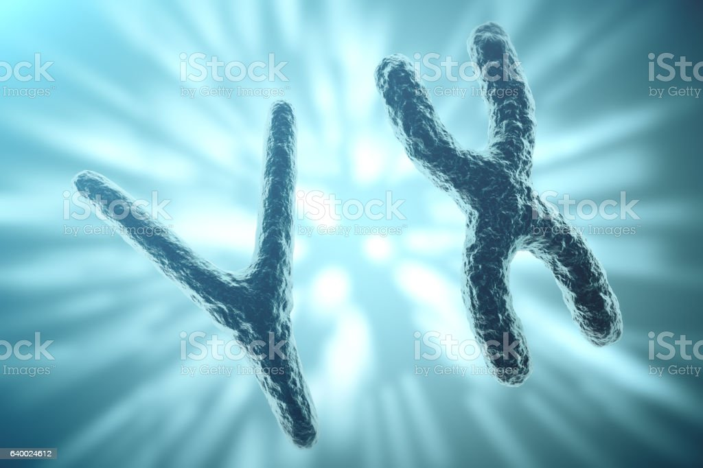 XY-chromosomes on background, medical symbol gene therapy or microbiology stock photo