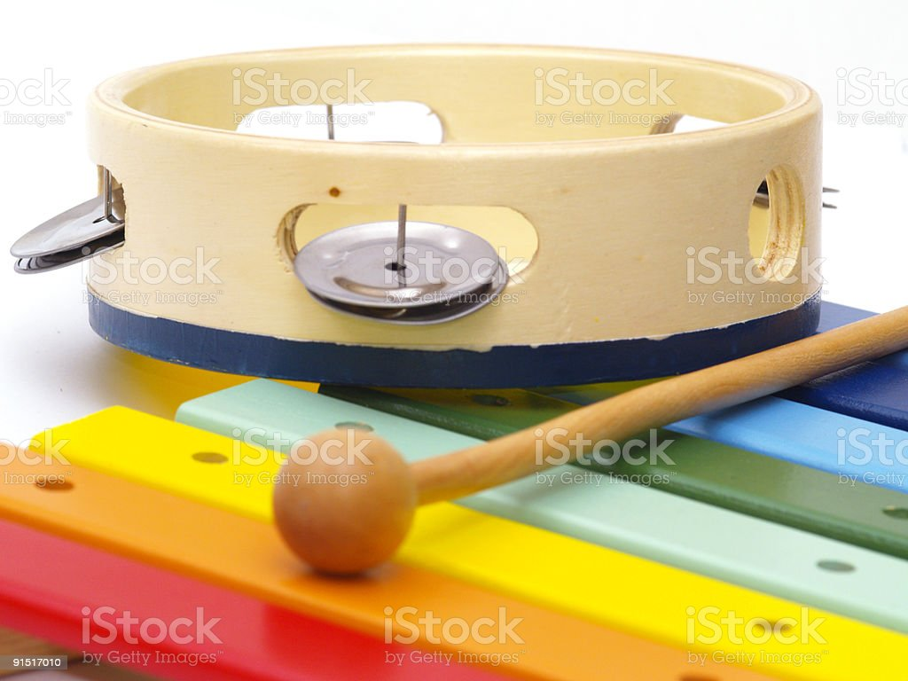 xylophone and tambourine royalty-free stock photo