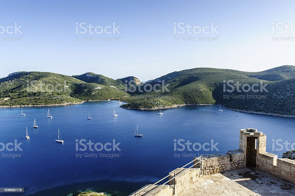 Yacht anchorage at Cabrera island. View from ancient fortress. stock photo
