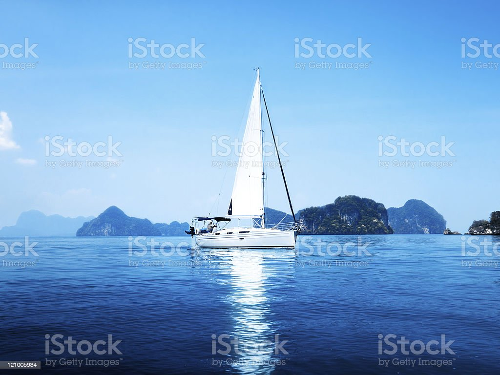 yacht and blue water ocean royalty-free stock photo