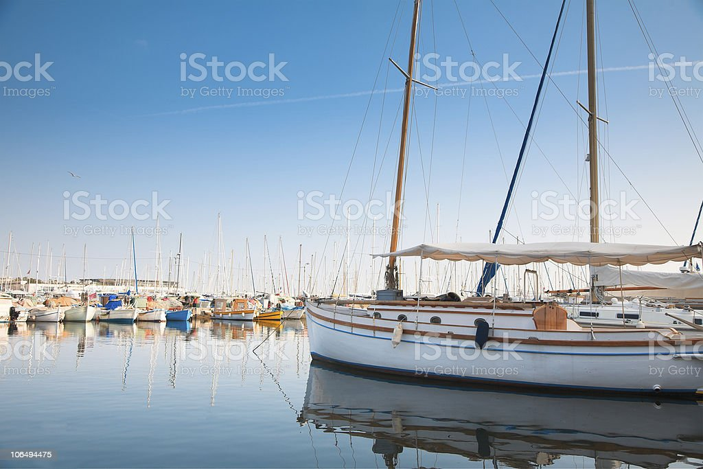 Yacht and fishing boats in Cannes, France royalty-free stock photo