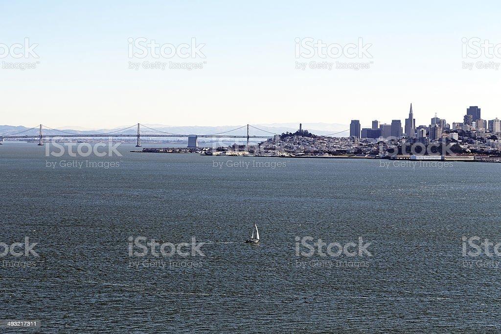 Yacht and San Francisco royalty-free stock photo
