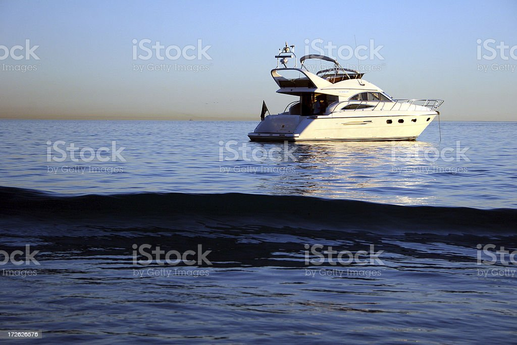 Yacht and wave royalty-free stock photo