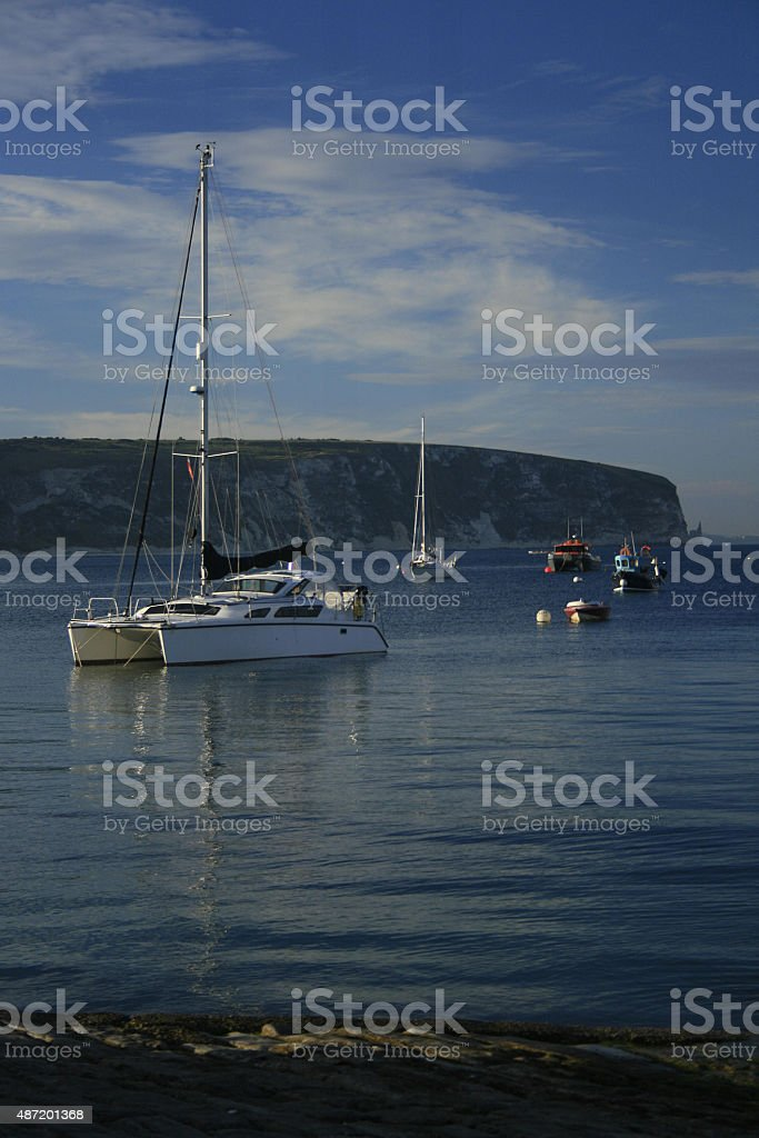 Yacht at Mooring stock photo