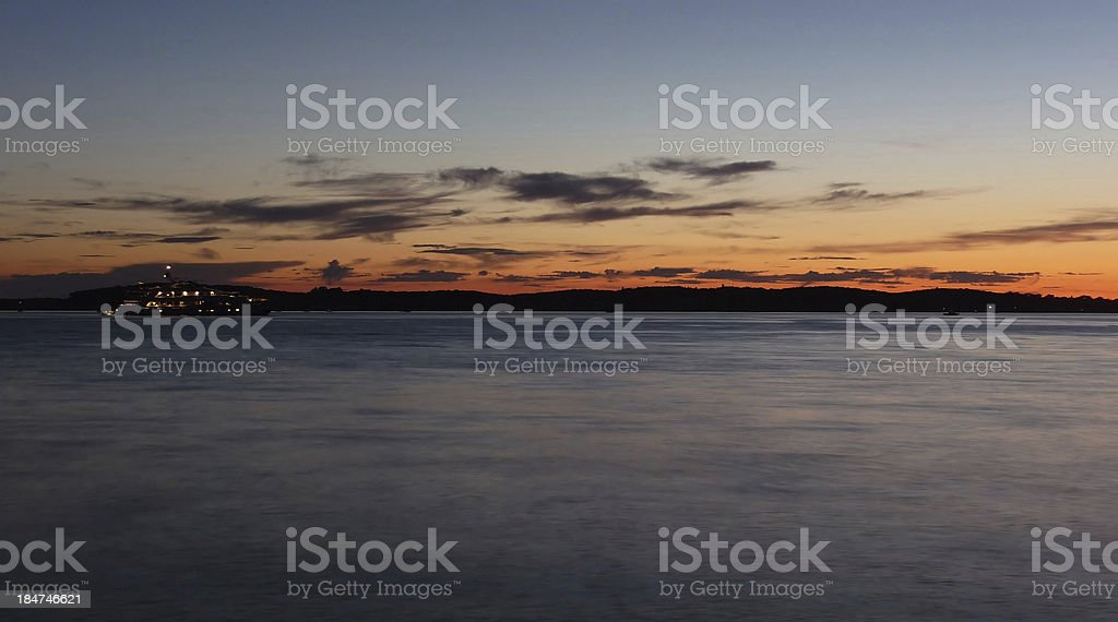 Yacht at sunset near Brioni national park, Croatia stock photo