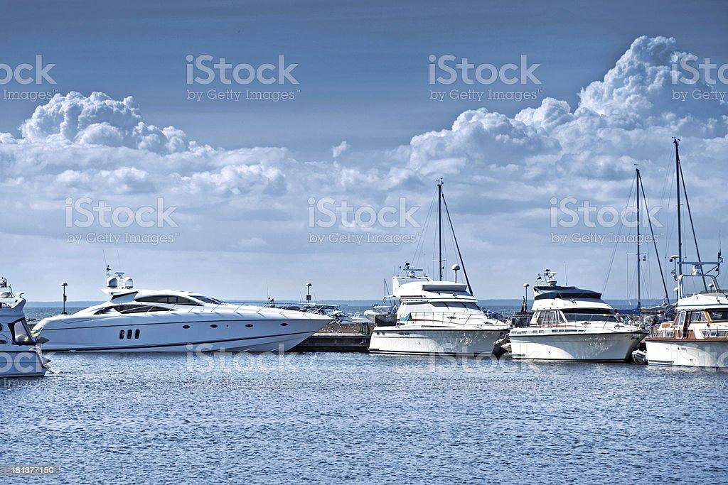 yacht bay stock photo