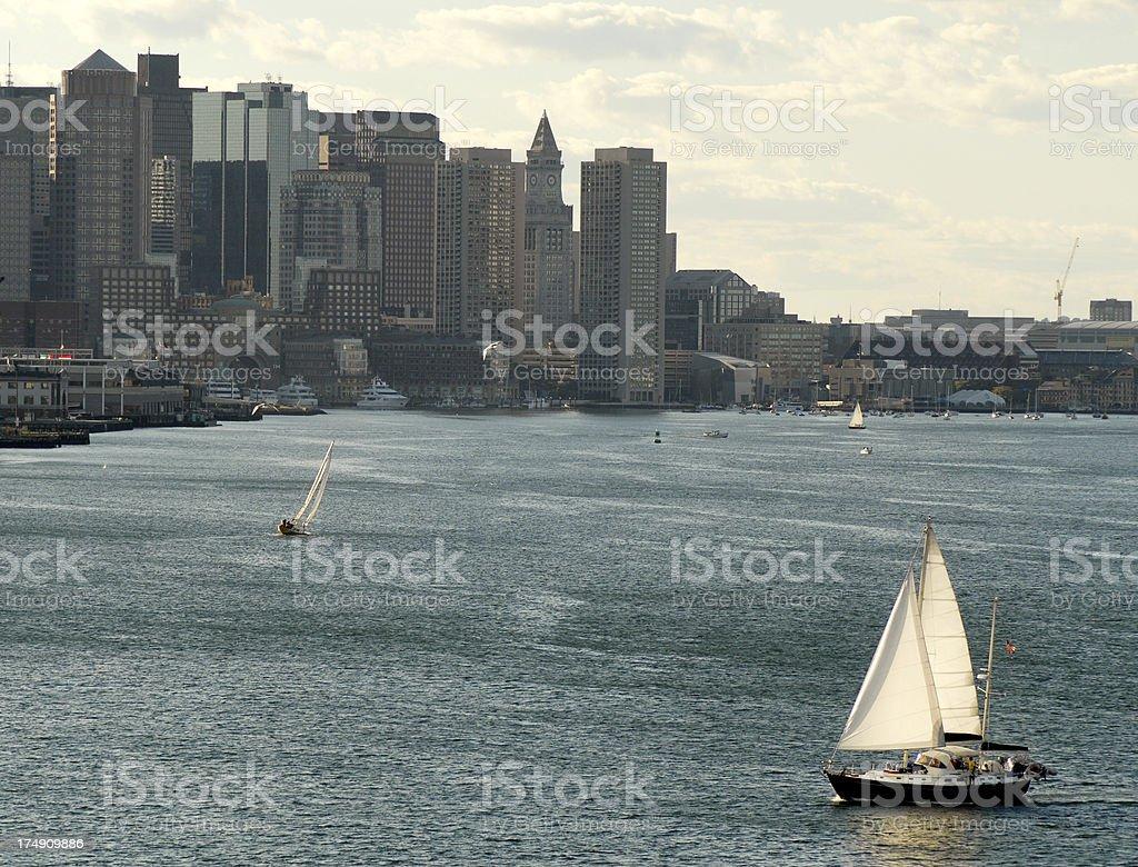 Yacht, Boston Harbor, Evening royalty-free stock photo