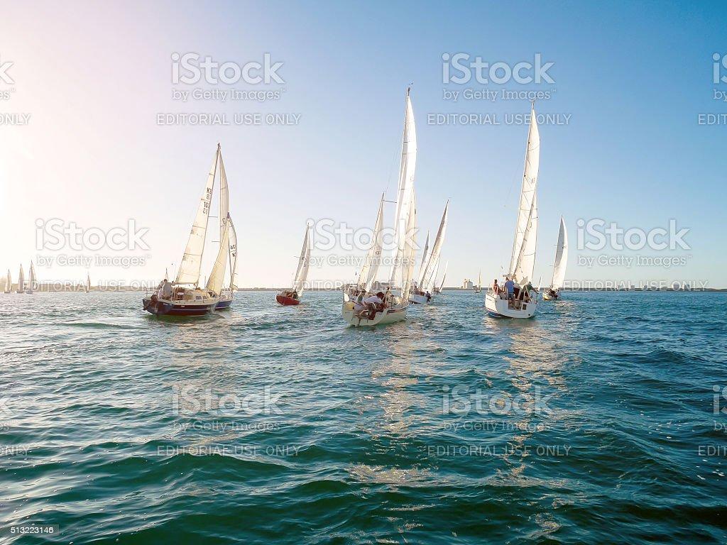 Yacht competes in Bunbury, Australia stock photo