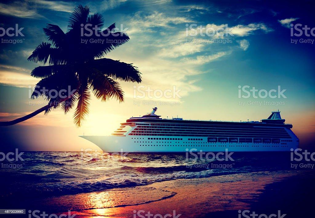 Yacht Cruise Ship Sea Ocean Tropical Scenic Concept 3D stock photo