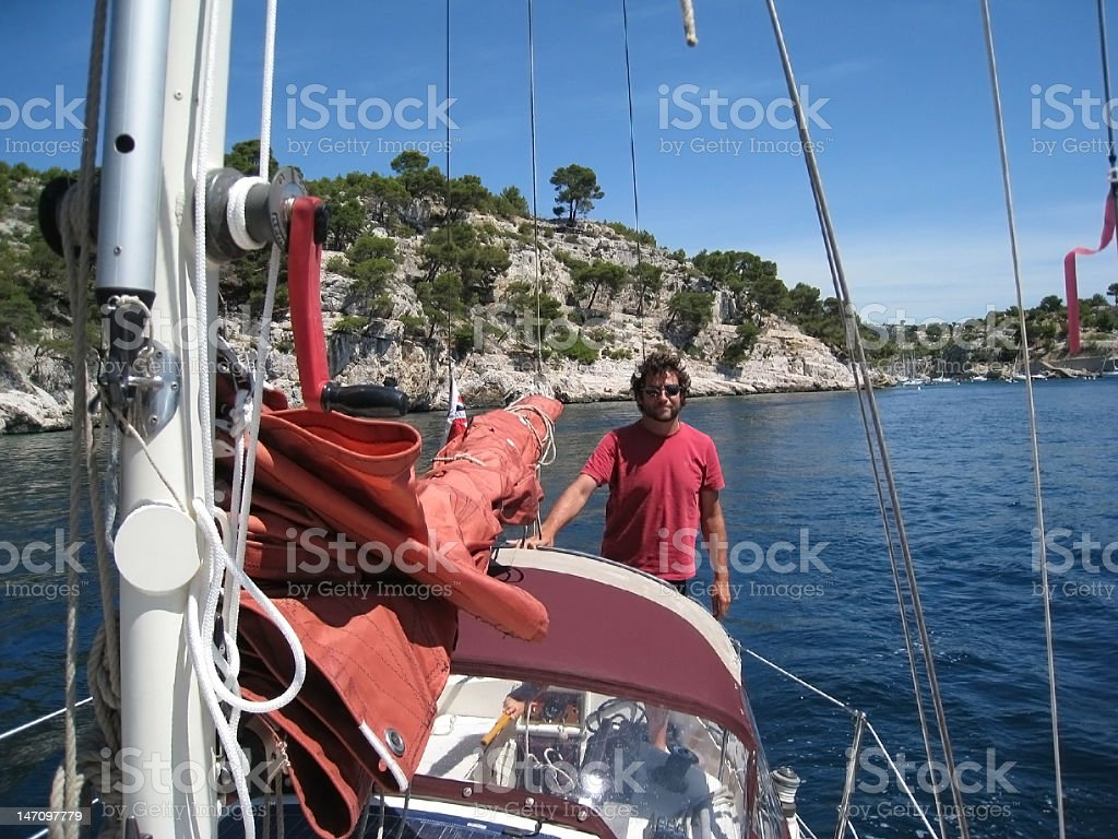 Yacht cruising, South of France royalty-free stock photo
