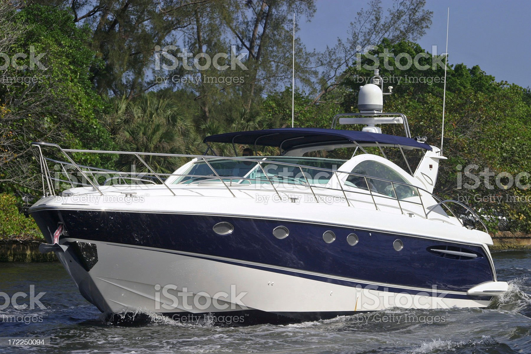 Yacht Crusing On Waterway royalty-free stock photo