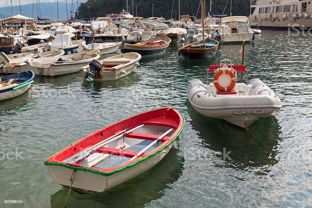 Yacht, fishing boat, sailing boats, cruise ships at Portofino, Italy stock photo