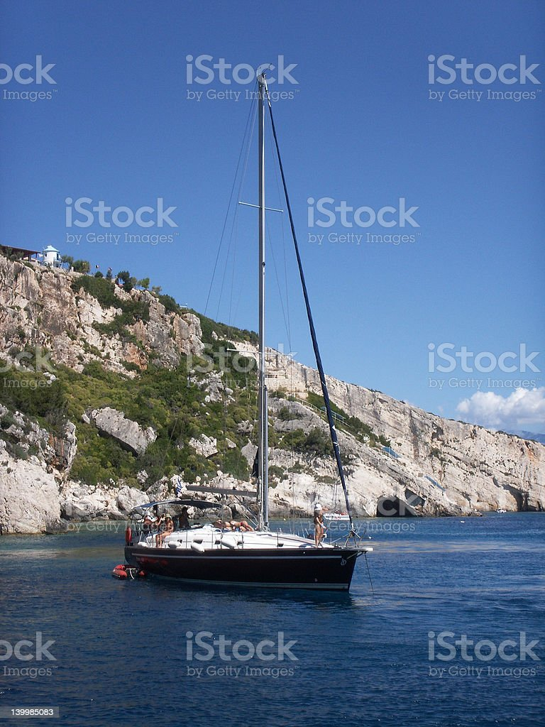 Yacht full of tourists on board sailing in Zante-Greece royalty-free stock photo
