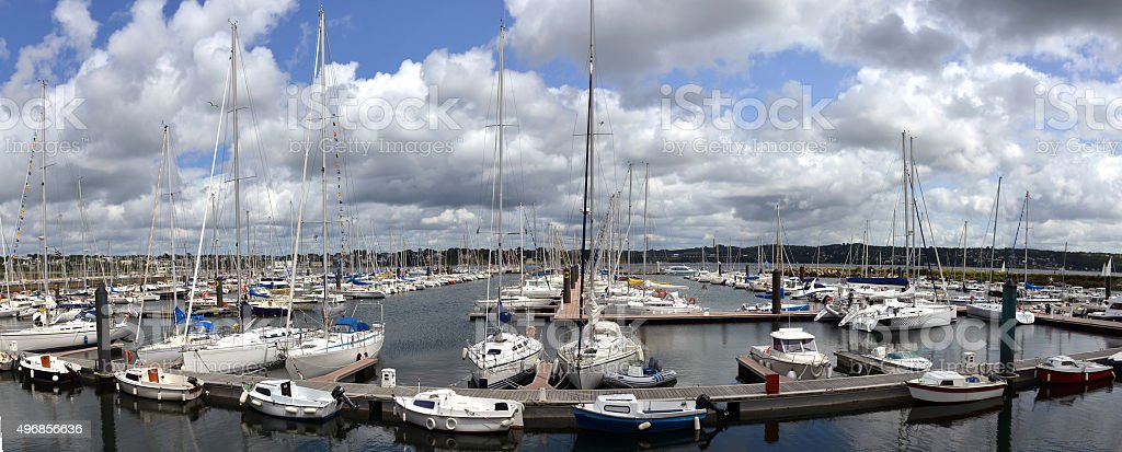 yacht harbor in Brest, Brittany in France stock photo