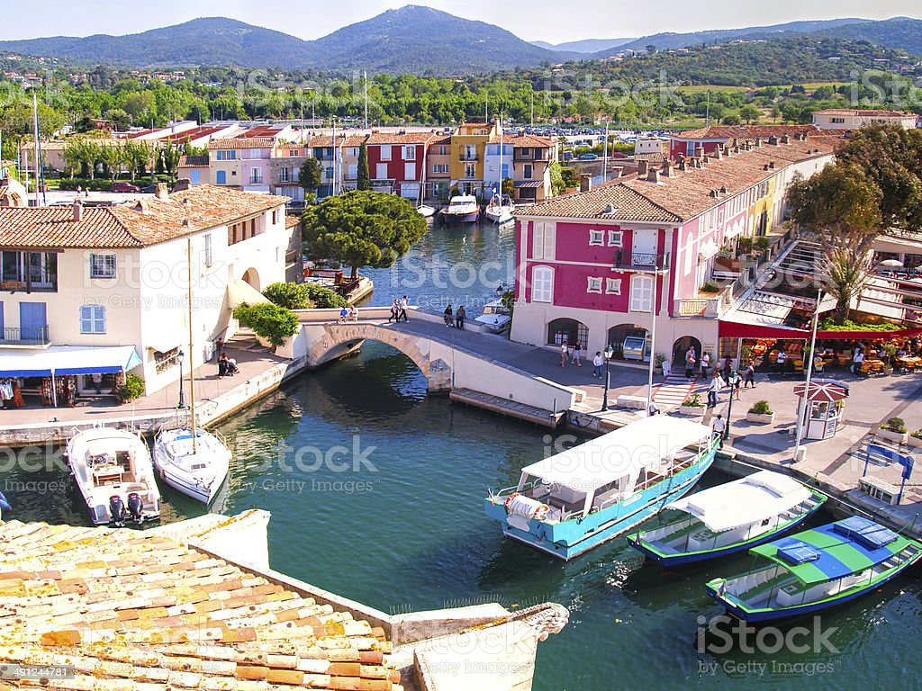 Yacht Harbor in Port Grimaud, France stock photo