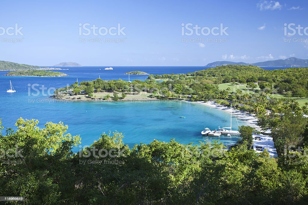 Yacht harbor in US Virgin Islands stock photo