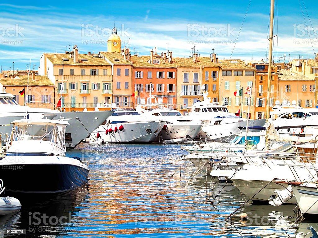 Yacht Harbor of St.Tropez, France stock photo