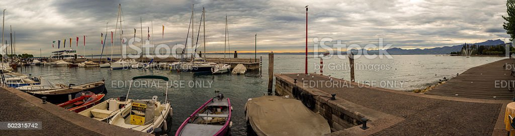 Yacht Harbour On The Lake Garda In Italy At Sunset stock photo