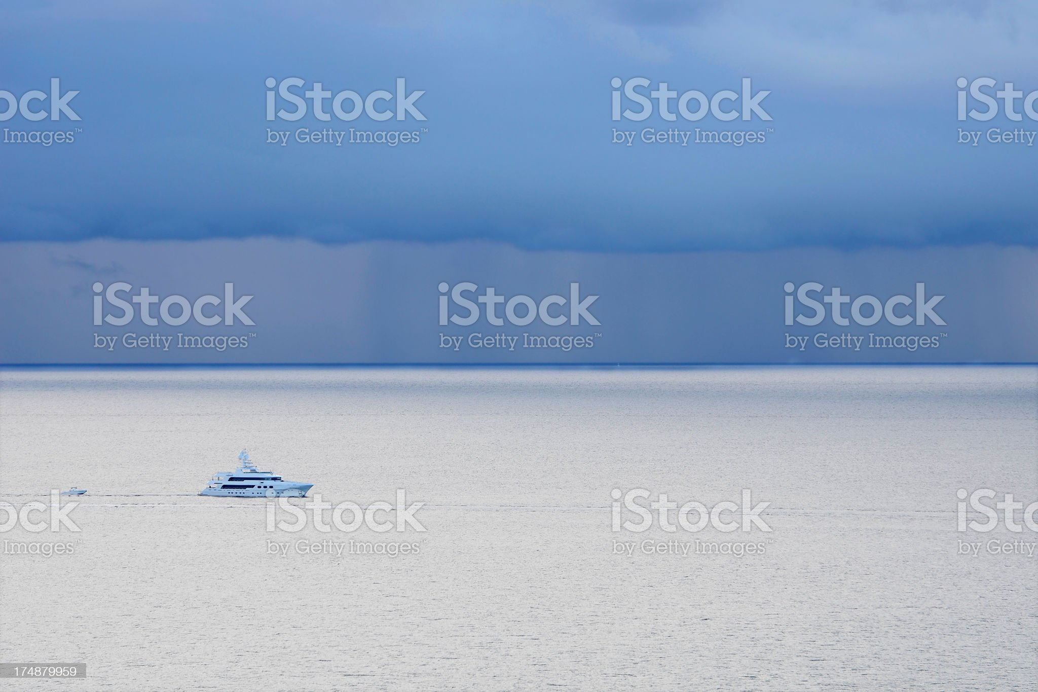 Yacht in front of Thunderstorm royalty-free stock photo