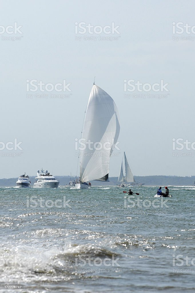 Yacht in Full Sail stock photo