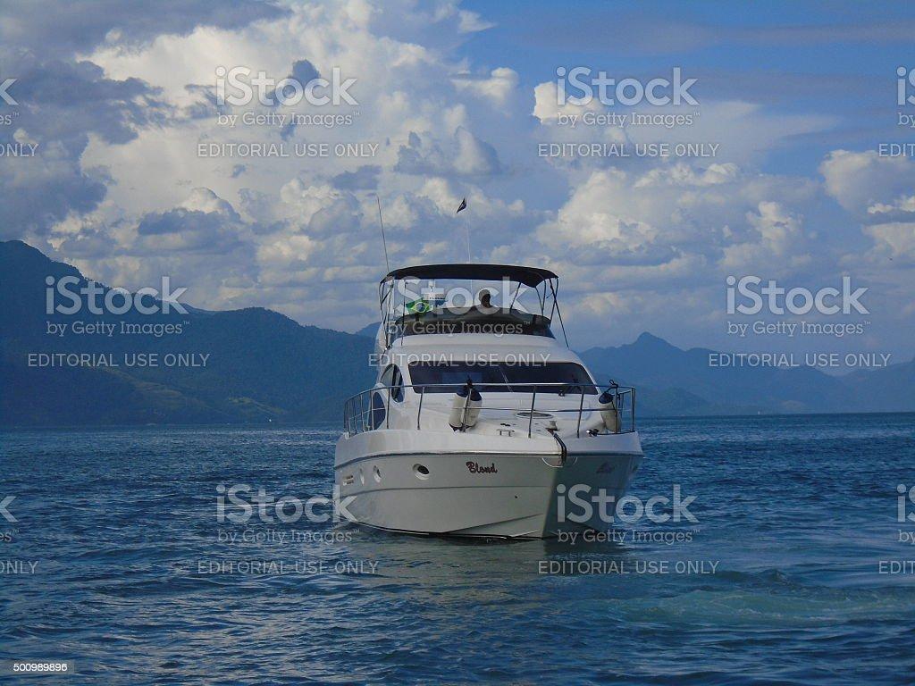 Yacht in Ilha Grande, Rio de Janeiro, Brazil stock photo