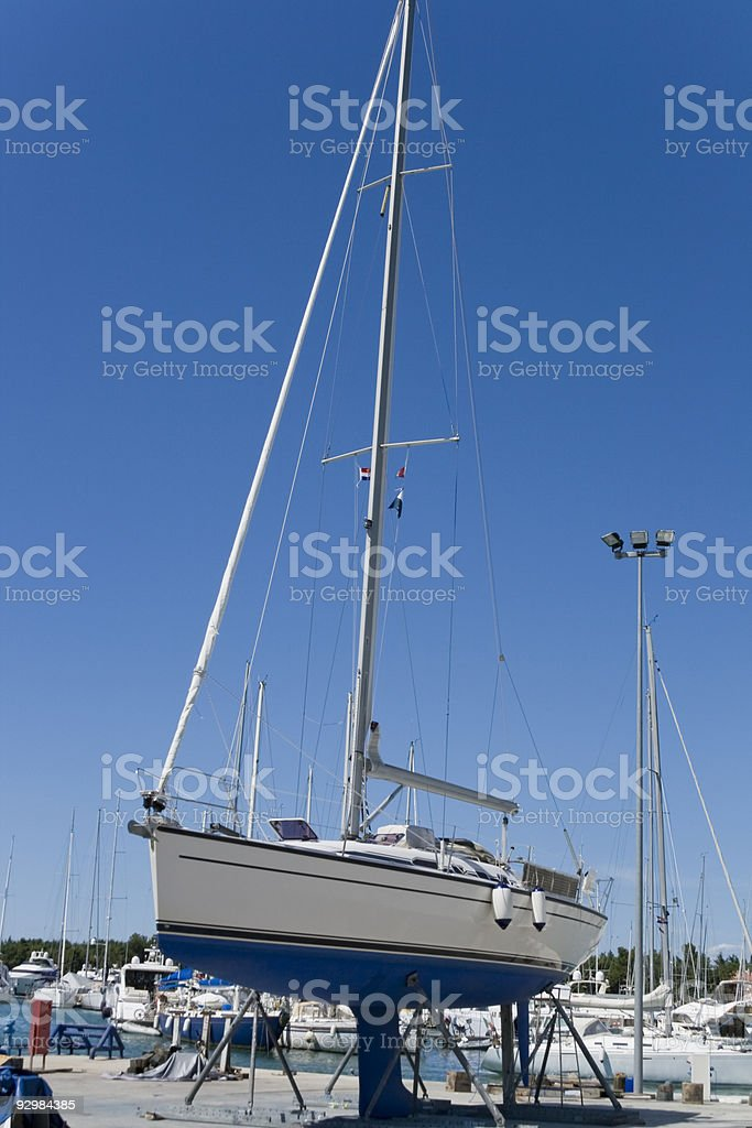 Yacht in maintenance royalty-free stock photo