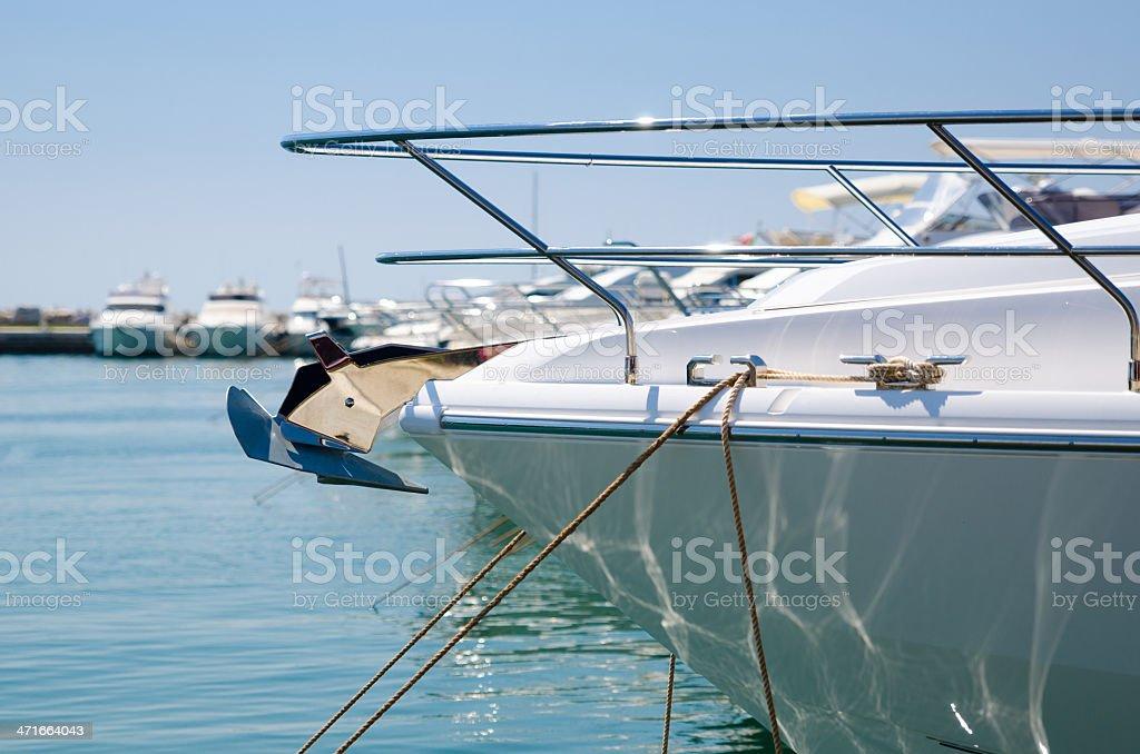 Yacht in marina royalty-free stock photo