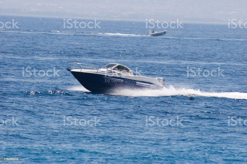 yacht in motion royalty-free stock photo