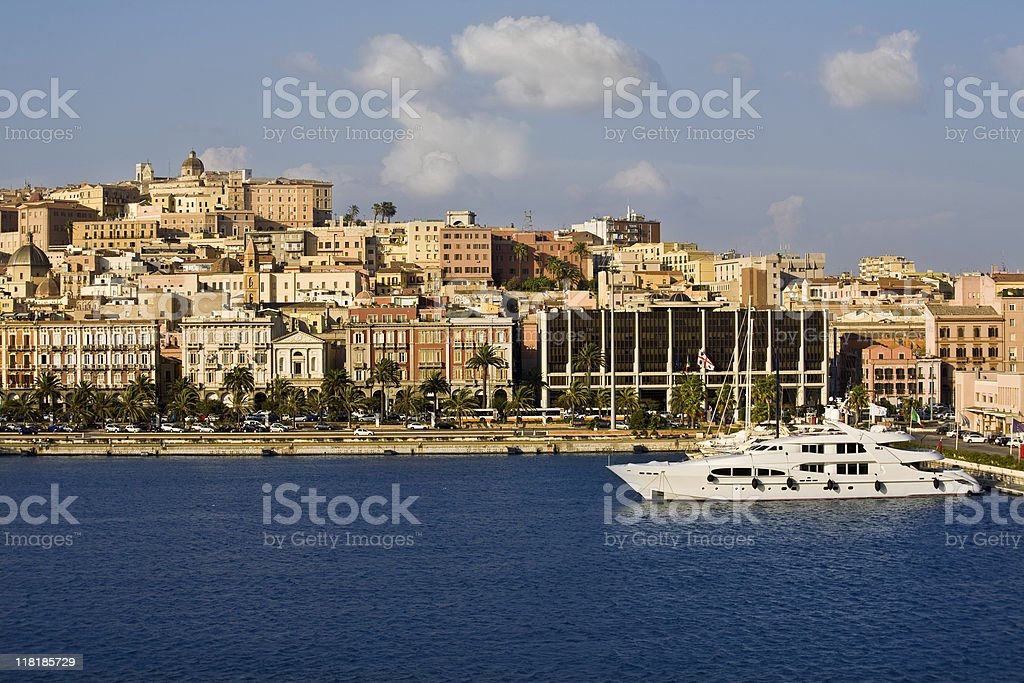 Yacht in the gulf of Cagliari stock photo