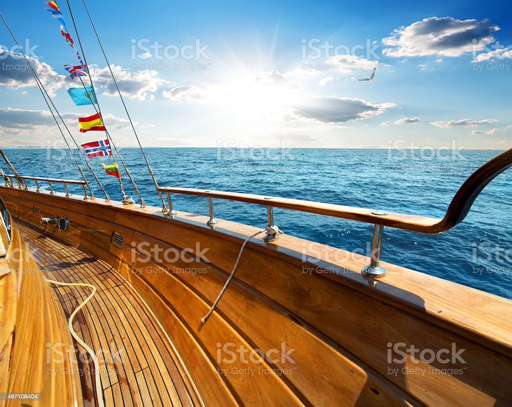 Yacht in the sea stock photo