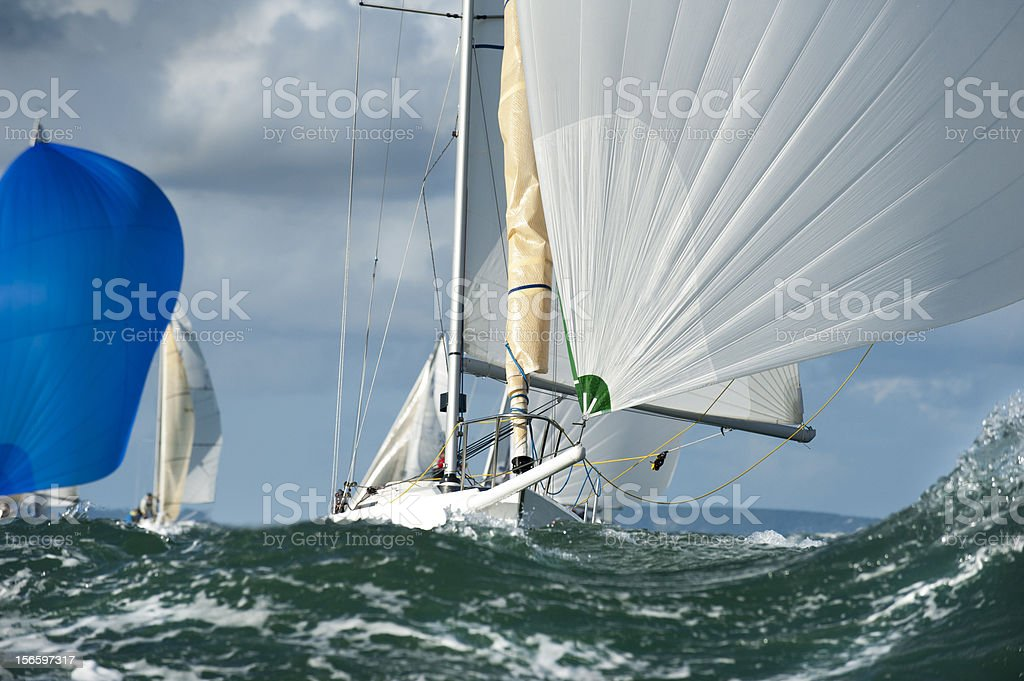 yacht in the swell royalty-free stock photo