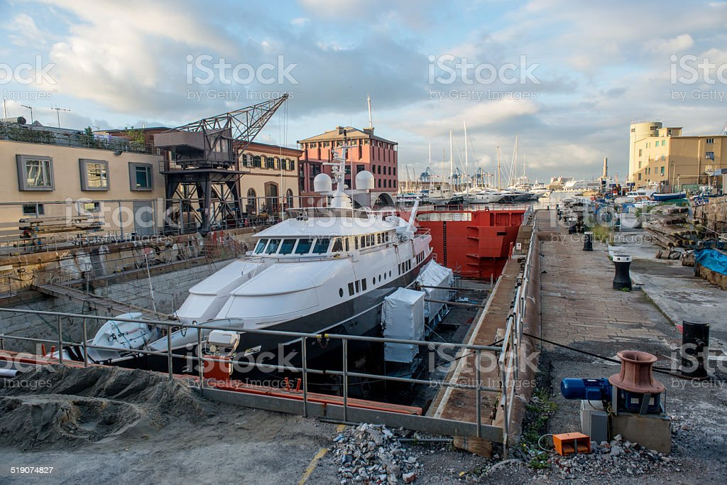 yacht in the work royalty-free stock photo