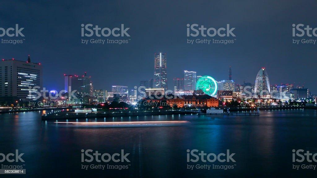 Yacht Light Trails in Yokohama Bay stock photo