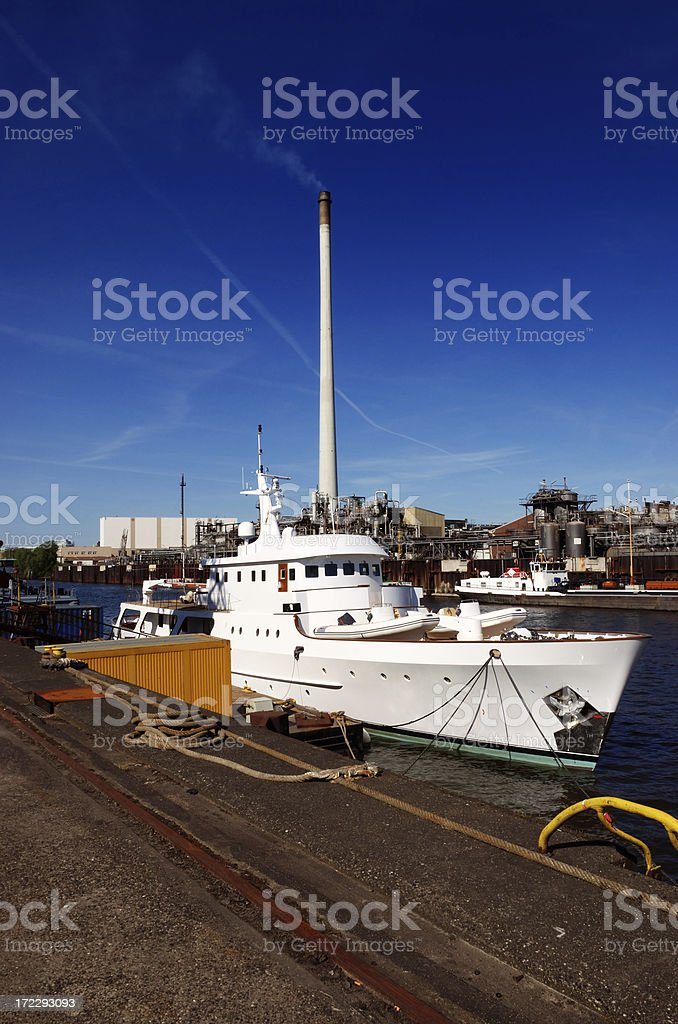 yacht luxury and industry dirty royalty-free stock photo