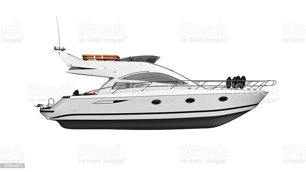 Yacht, luxury boat, vessel isolated on white background, side view stock photo