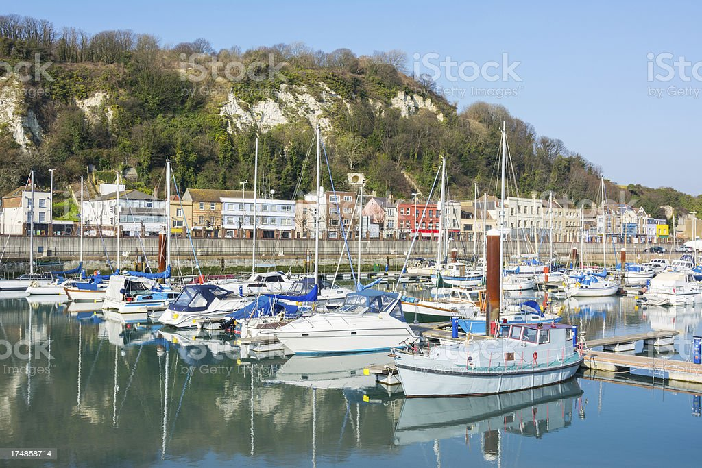 Yacht marina in the harbour of Dover, Kent, UK royalty-free stock photo