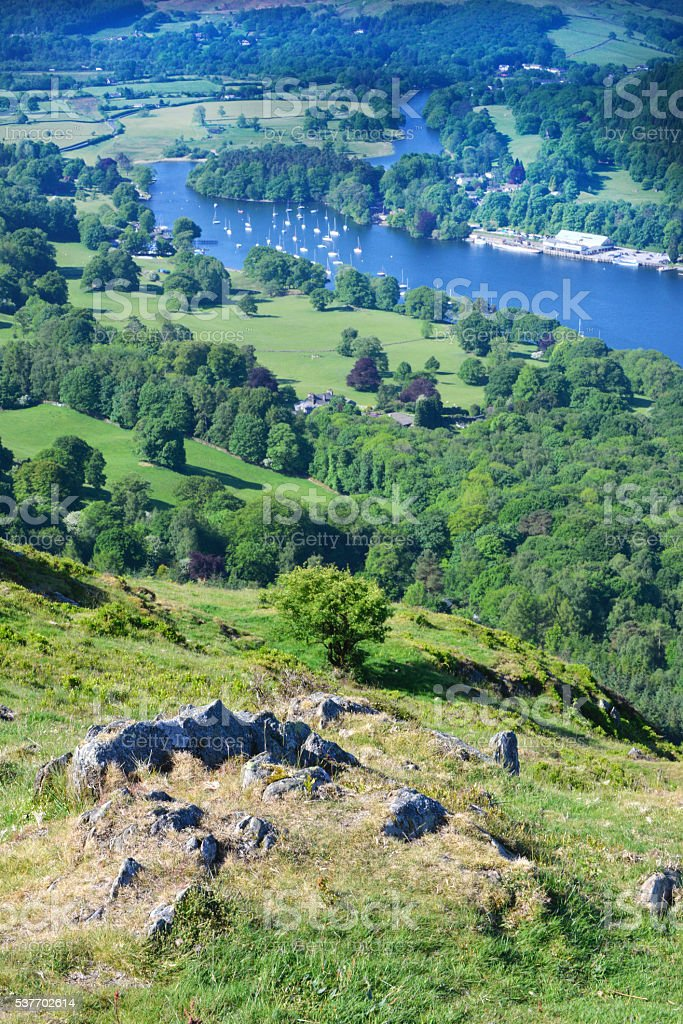 Yacht Marina on Windermere From Gummers How stock photo