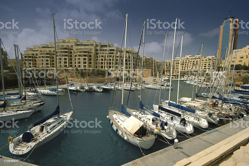 Yacht Marina with Tower royalty-free stock photo
